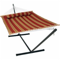 Sunnydaze 2-Person Quilted Spreader Bar Hammock Bed with 12' Stand - Red Stripe - 1 quilted hammock