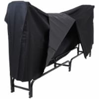 Sunnydaze Firewood Steel Log Holder Storage with Black Waterproof Cover - 8'