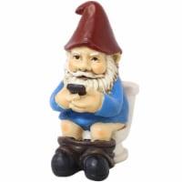 """Sunnydaze Cody the Gnome Reading Phone on the Throne - Outdoor Garden Accent -9"""" - 1 garden gnome"""
