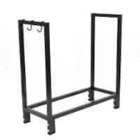 """Sunnydaze Log Rack 30"""" Black Steel Indoor Outdoor Firewood Storage Holder - 1 Log Rack"""