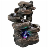 """Sunnydaze Staggered Rock Falls Tabletop Water Fountain with LED Lights - 13"""""""