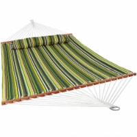 Sunnydaze 2-Person Quilted Spreader Bar Hammock Bed w/ Pillow - Melon Stripe - 1 quilted hammock