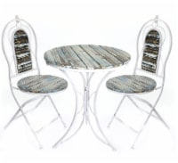 Alpine Patio Garden Table and Two Chairs Bistro Set, 28 Inch Tall - 1