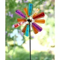 Alpine Corp BVF234 Colorful Kinetic Wind Spinner Garden Stake with Gems