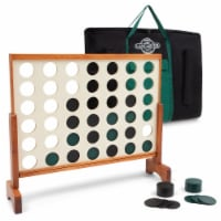 Lancaster Oversized 4-In-A-Row Wooden Outdoor Game Set w/ Carry Bag - 1 Unit