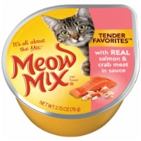 Meow Mix Tender Favorites with Real Salmon & Crab Meat in Sauce Wet Cat Food 12 Count - 33 oz