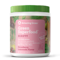 Amazing Grass Green Superfood Beauty Strawberry Lemonade Flavor Whole Food Dietary Supplement Powder