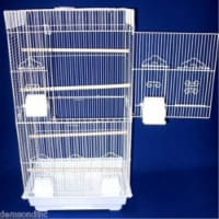 "6824 3/8"" Bar Spacing Tall SquareTop Small Bird Cage - 18""x14"" In White"