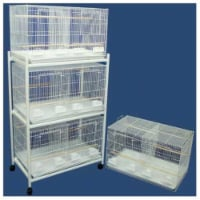 Lot of 4 Medium Breeding Cages with Divider and One 3 Tie Stand - With
