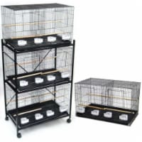 Lot of 4 Medium Breeding Cages with Divider in Black and One 3 Tie Black Stand