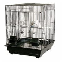 YML 6924-4814BLK 0.37 in. Bar Spacing Tall Flat Top Bird Cage with Stand, Black - 18 x 18 in.
