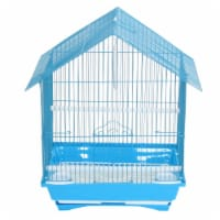 """YML A1314MBLU House Top Style Small Parakeet Cage, 13.3"""" x 10.8"""" x 17.8"""" - 1"""