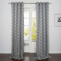 """Lugano Abstract Overall Jacquard Design Window Curtain Panel Black and White 54""""x95"""" - 1"""