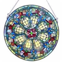 "CH1P460RV24-GPN CHLOE Lighting Tiffany-glass Baroque Window Panel 24"""
