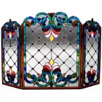 Chloe CH1F912BV44-GFS 44 in. Lighting Tiffany Glass Folding Victorian Fireplace Screen - 3 Pi