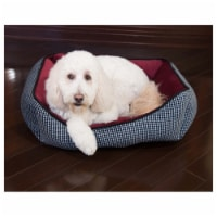 Houndstooth Cuddler Pet Bed by Pet Maison for Unisex - 27 x 21 x 10 Inch Pet Bed