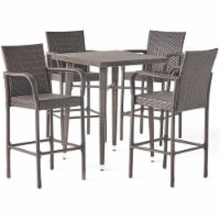 Noble House Colbin Outdoor 5-Pc Multi Brown Wicker 32.5  Square Bar Table Set - 1
