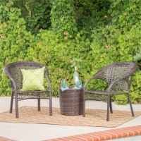 Noble House Hamburg Outdoor 3 Piece Multibrown Chair Chat Set - 1