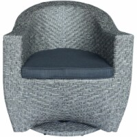 Noble House Larchmont Outdoor Wicker Swivel Chair Mixed Black and Dark Gray - 1