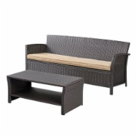 Noble House St. Lucia 2 Piece Outdoor Wicker Sofa Set in Brown - 1