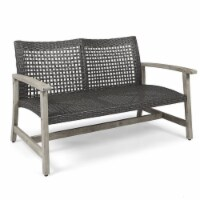 Noble House Hampton Outdoor Wood and Wicker Loveseat in Light Gray