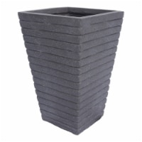 Noble House Jude Outdoor Tapered Channel Square Garden Urn Planter in Gray - 1