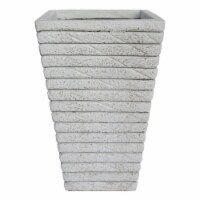 Noble House Jude Outdoor Tapered Channel Square Garden Urn Planter in White - 1