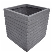 Noble House Kaden Outdoor Channel Square Garden Urn Planter in Antique Gray - 1