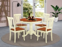 ANAV5-WHI-W 5 Pc small Table set-round Table and 4 Chairs for Dining room - 1