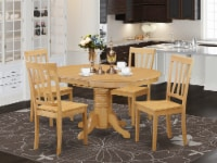 5 Pc Dining room set-Oval dinette Table with Leaf and 4 Dining Chairs - 1