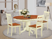 AVAT5-WHI-W 5 Pc Table and chair set for 4-Dining Table and 4 Dining Chairs - 1