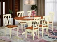 East West Furniture Avon 7-piece Wood Dining Set in Buttermilk/Cherry - 1