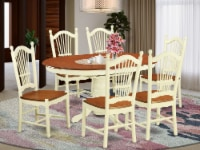 East West Furniture Avon 7-piece Wood Dining Table Set in Buttermilk/Cherry - 1
