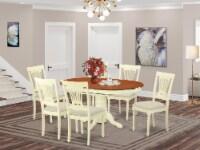 East West Furniture Avon 7-piece Wood Dinette Table Set in Buttermilk/Cherry - 1
