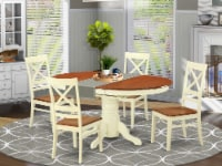 AVQU5-WHI-W 5 PC Table and chair set - Dining Table and 4 Kitchen Dining Chairs - 1
