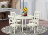 BOST5-WHI-W 5 PcKitchen nook Dining set for 4-Table and 4 Kitchen Chairs - 1