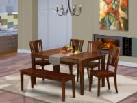 CADU6C-MAH-W 6-Pc Kitchen Table with bench- Table and 4 Kitchen Chairs and Bench - 1