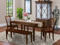 CAML5C-MAH-W 5 PC Dining room set-Kitchen Table and 2 Chairs and 2 Benches - 1