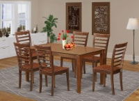 East West Furniture Capri 7-piece Wood Table and Dining Chairs in Mahogany - 1