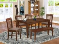 6-Pc Dining Table with bench set- Table and 4 Dining Chairs and Bench - 1