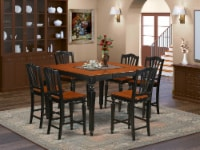 East West Furniture Chelsea 7-piece Wood Dining Set in Black & Cherry - 1