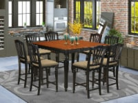 East West Furniture Chelsea 9-piece Wood Dining Set in Black/Cherry - 1