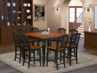 East West Furniture Chelsea 9-piece Wood Dining Room Set in Black/Cherry - 1