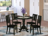 DLDU5-BLK-W 5 PC Dining room set for 4-Small Kitchen Table and 4 Kitchen Chairs - 1