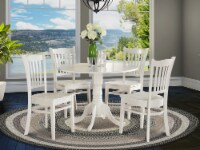 DLGR5-WHI-W 5 PC Kitchen nook Dining set-Table and 4 Kitchen Chairs - 1