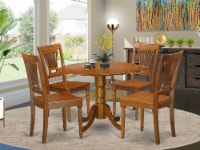 Dlpl5-Sbr-W 5 Pc Kitchen Nook Dining Set-Small Kitchen Table And 4 Dining Chairs - 1