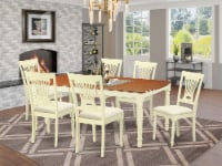 East West Furniture Dover 7-piece Wood Dining Room Set in Buttermilk/Cherry - 1