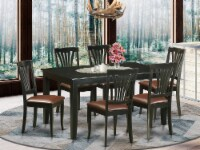 DUAV7-BLK-LC 7 Pc Dining room set -Kitchen Table and 6 Dining Chairs - 1