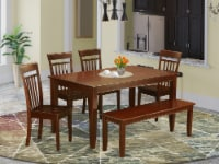 6 Pc Dining room set with bench-Dinette Table and 4 Chairs and Bench - 1