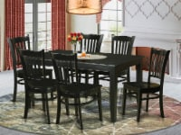 East West Furniture Dudley 7-piece Wood Kitchen Table and Chair Set in Black - 1